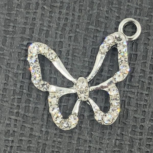 Crystal butterfly charm - rhodium - 18mm x 21mm